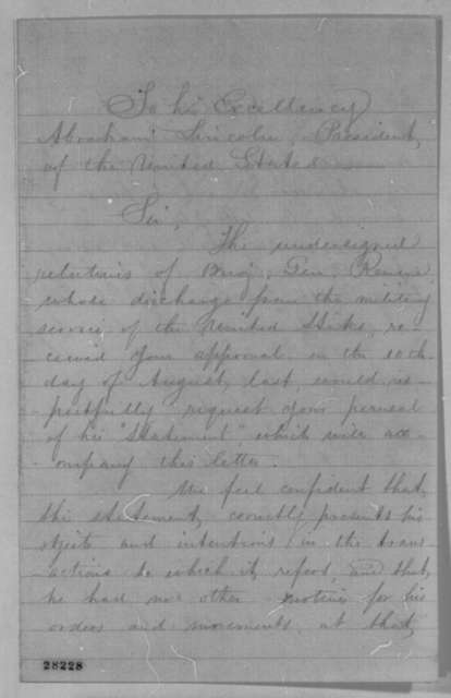 Joseph W. Revere, et al. to Abraham Lincoln, Wednesday, November 25, 1863  (Petition requesting Lincoln to review General Revere's case)