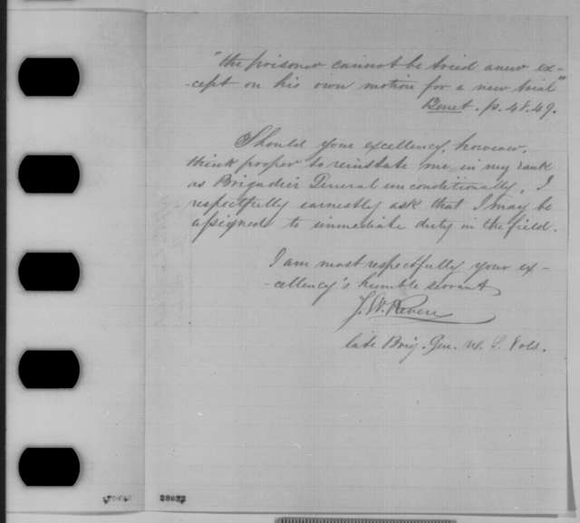 Joseph W. Revere to Abraham Lincoln, Sunday, November 15, 1863  (Requests a new court martial)