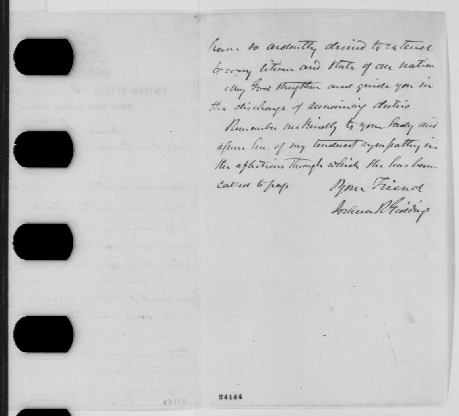 Joshua R. Giddings to Abraham Lincoln, Monday, June 15, 1863  (Supports Lincoln's policy)