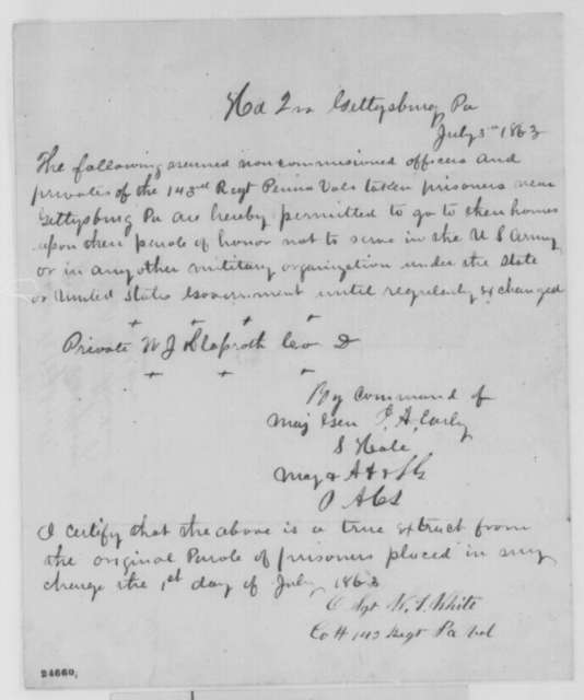Jubal Anderson Early to W. J. Klaproth, Friday, July 03, 1863  (Parole)