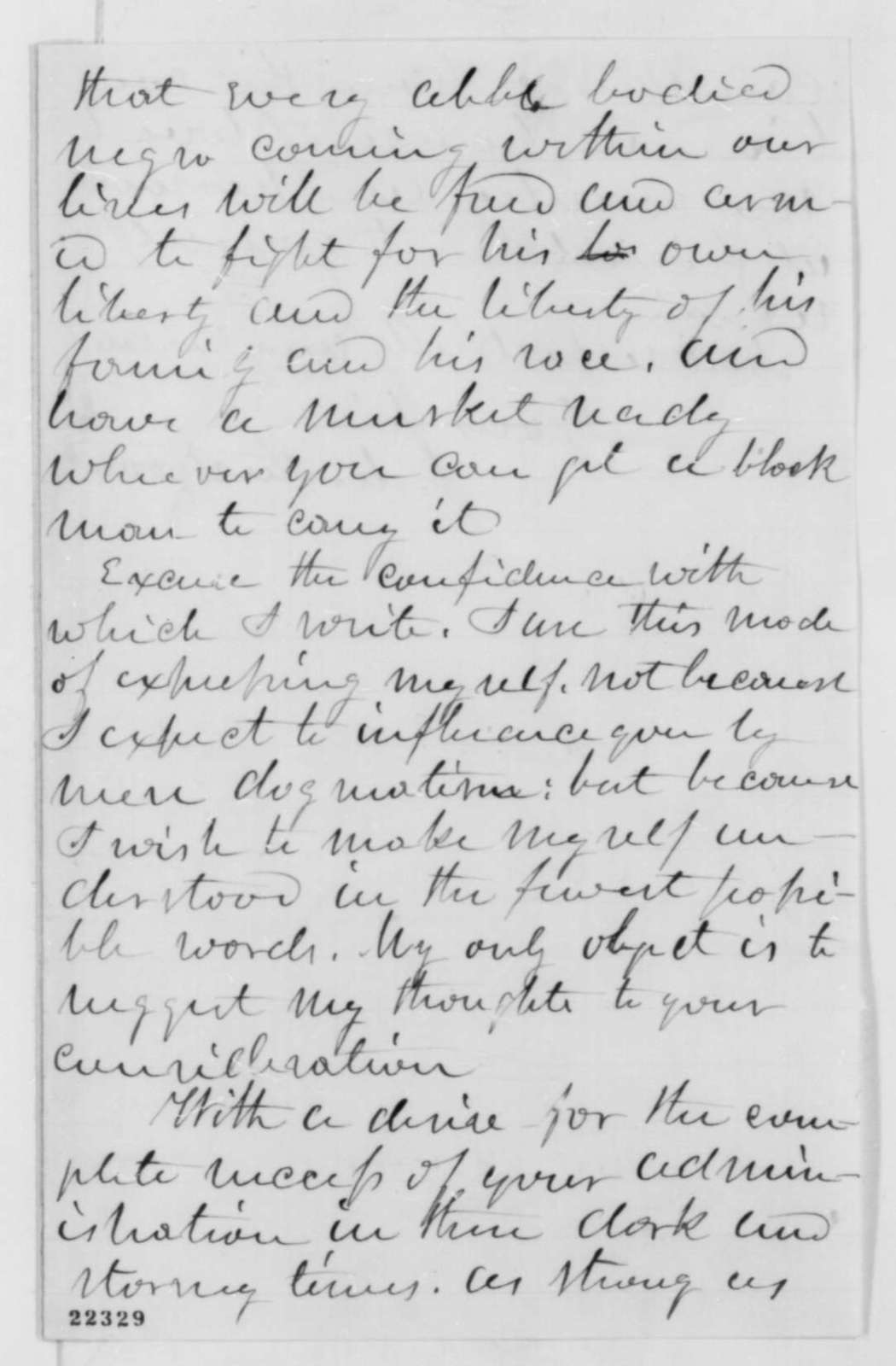 Julian M. Sturtevant to Abraham Lincoln, Tuesday, March 10, 1863  (Urges the enlistment of freedmen)