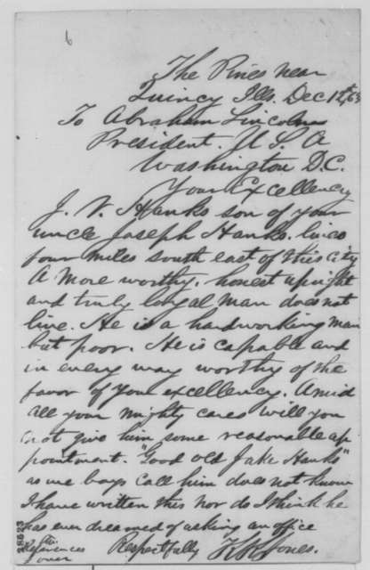 K. K. Jones to Abraham Lincoln, Saturday, December 12, 1863  (Recommends Jacob V. Hanks for office)