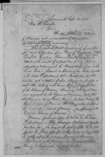 Kansas Unionists to Abraham Lincoln, Monday, September 14, 1863  (Petition concerning military affairs in Kansas)
