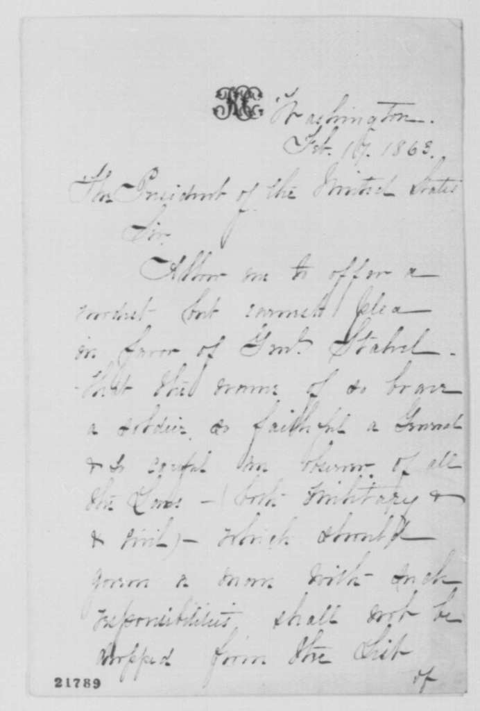 Katherine Chase to Abraham Lincoln, Tuesday, February 17, 1863  (Writes in favor of General Julius Stahel)