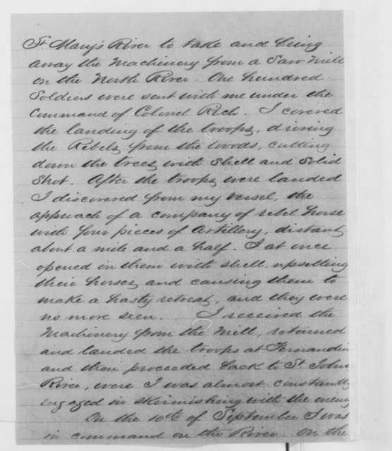 L. G. Crane to Hannibal Hamlin, Monday, February 16, 1863  (Naval career)