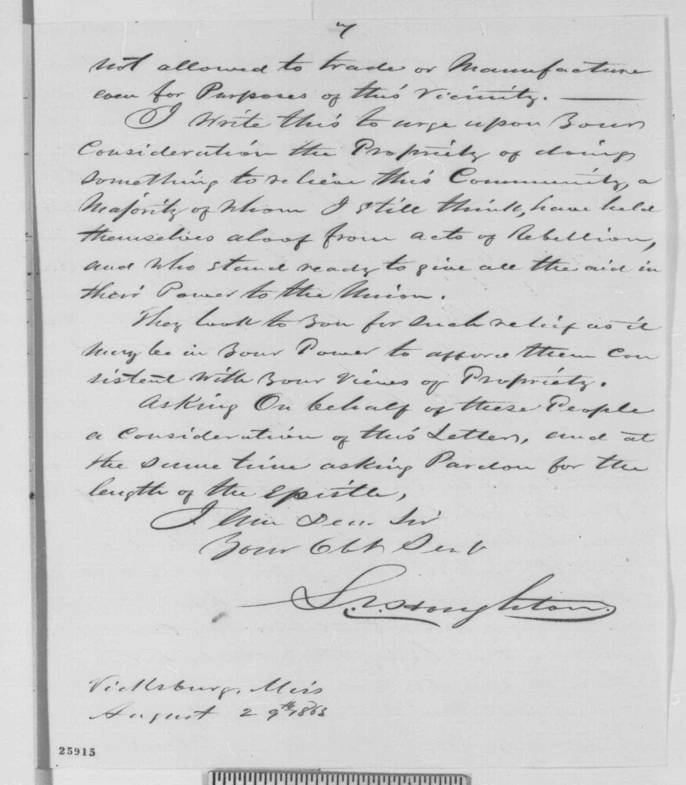 L. S. Houghton to Abraham Lincoln, Saturday, August 29, 1863  (Unionists in Mississippi)