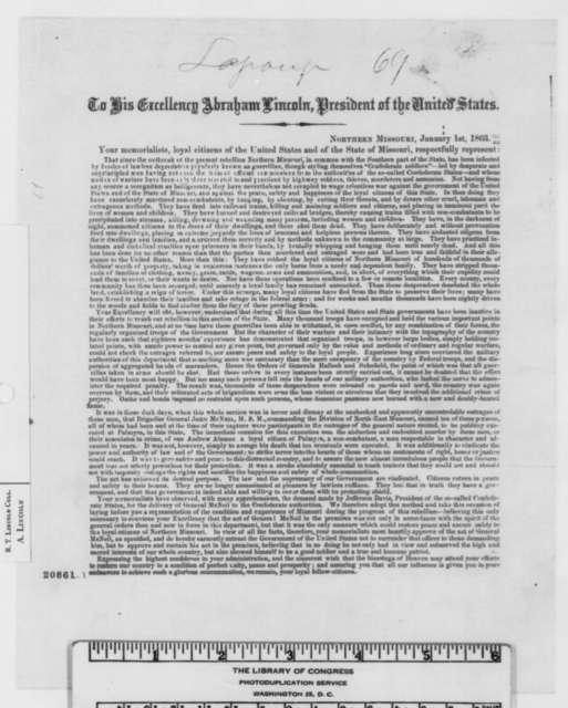 Warren Missouri Citizens to Abraham Lincoln, Thursday