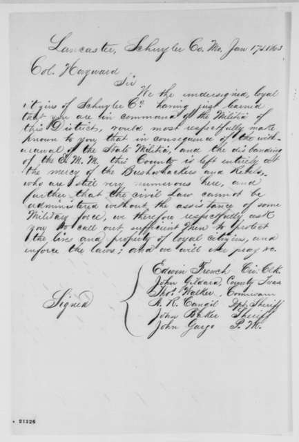 Lancaster Missouri Citizens to J. T. Hayward, Saturday, January 17, 1863  (Petition requesting military protection)
