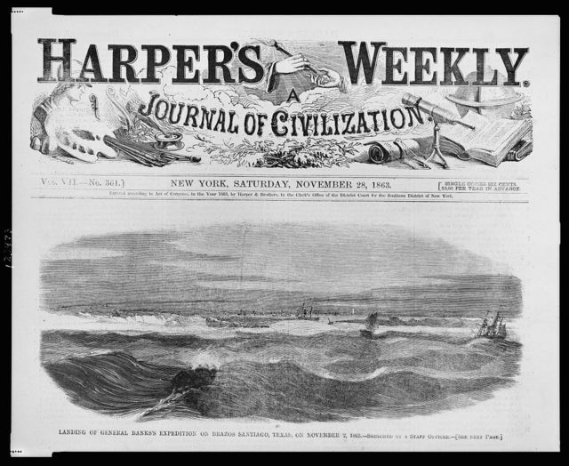 Landing of General Banks's expedition on Brazos Santiago, Texas, on November 2, 1863 / sketched by a staff officer.