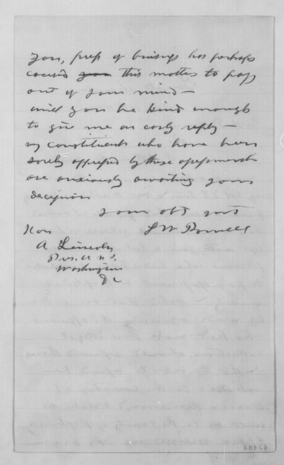 Lazarus W. Powell to Abraham Lincoln, Wednesday, February 11, 1863  (Affairs in Kentucky)