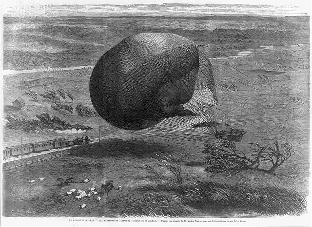 """Le ballon """"Le Géant"""" aux environs de Nimbourg (accident du 19 octobre). D'après un croquis de M. Adrien Tournachon, sur les indications de son frère Nadar / P. Blanchard ; B. Callow Smeeton."""