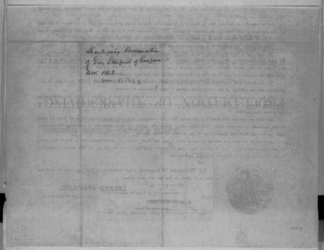 Leland Stanford, Thursday, November 05, 1863  (Printed proclamation)