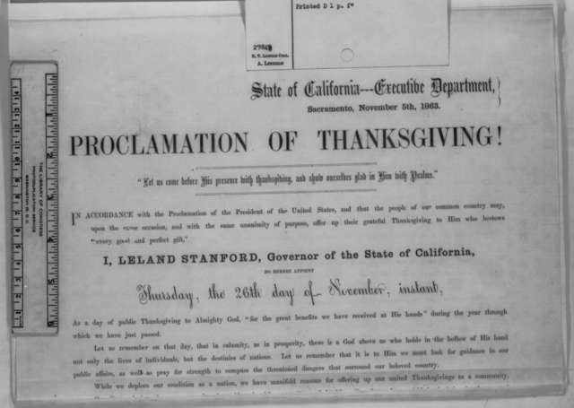 Leland Stanford, Thursday, November 05, 1863  (Printed proclamation)