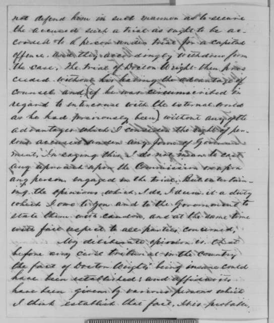 Lemuel J. Bowden to Abraham Lincoln, Friday, July 31, 1863  (Case of David Wright)
