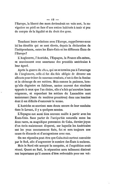 Les États-Unis et l'Europe : rupture de l'union, reconnaissance du Sud, abolition de l'esclavage /