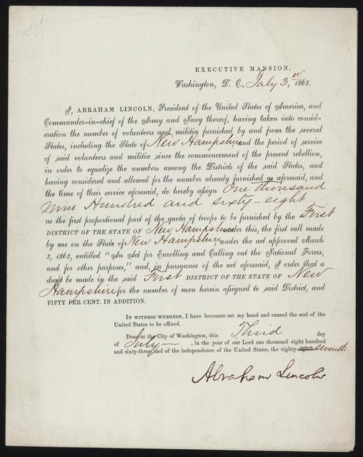 Letter from Abraham Lincoln announcing the draft of 1,968 from New Hampshire.