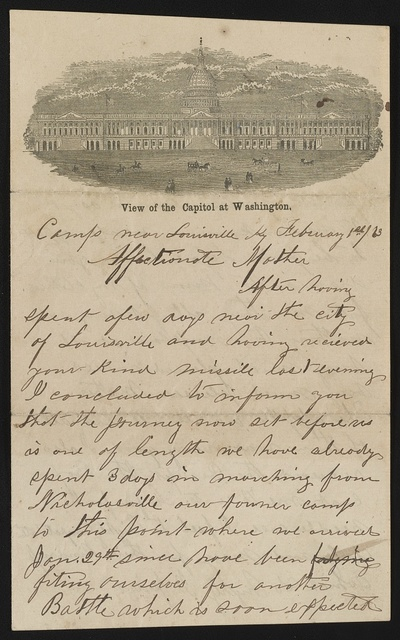 [Letter from Isaac McCoy to his mother, Nancy McCoy, from Louisville, Kentucky, on pictorial lettersheet]