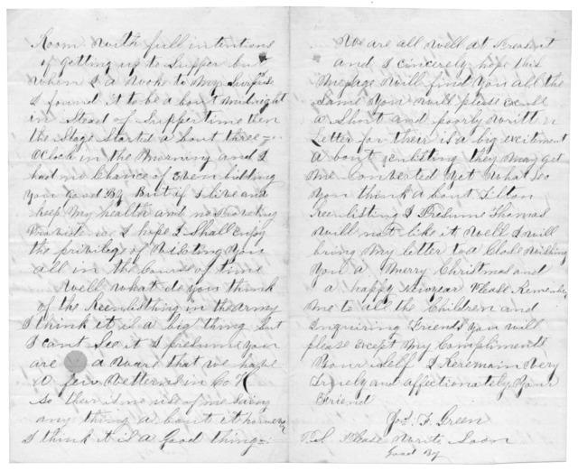 Letter from Joseph F. Green to Juliana Smith Reynolds, December 23, 1863