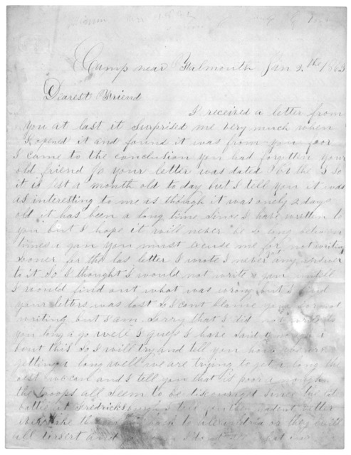 Letter from Joseph F. Green to Juliana Smith Reynolds, January 2, 1863
