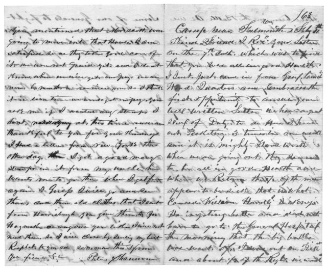 Letter from Peter Shannon, February 11, 1863