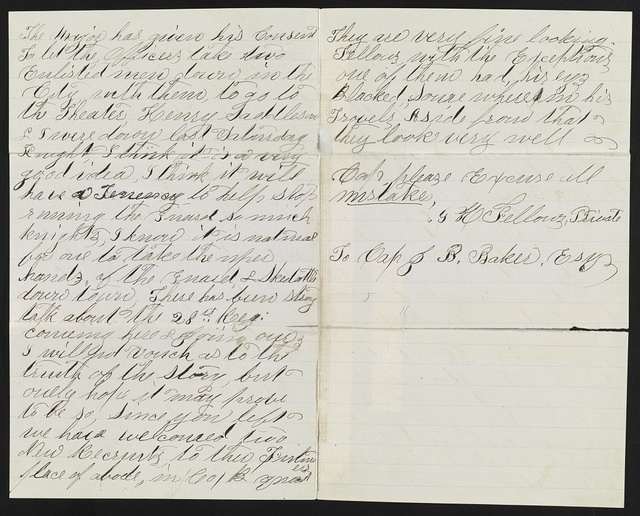 [Letter from Private G.H. Fellows of Co. B, 8th New York Heavy Artillery Regiment, to Captain Joel B. Baker of 8th New York Heavy Artillery Regiment