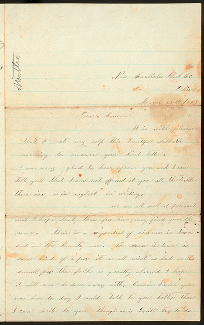 Letter from Sallie A. Stafford to Mattie V. Thomas, March 22, 1863