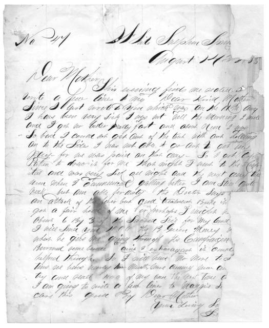 Letter from Tilton C. Reynolds to Juliana Smith Reynolds, August 14, 1863