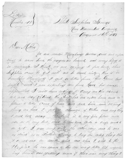 Letter from Tilton C. Reynolds to Juliana Smith Reynolds, August 16, 1863