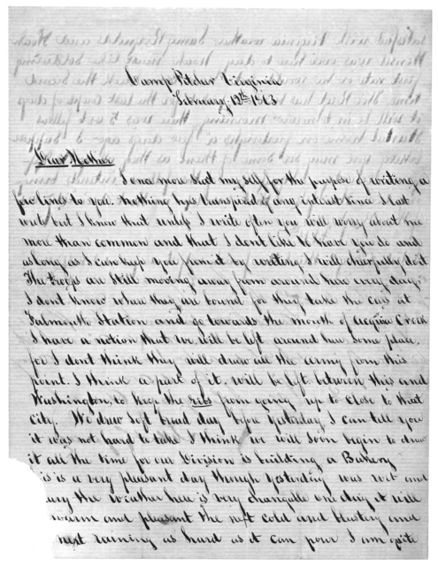 Letter from Tilton C. Reynolds to Juliana Smith Reynolds, February 12, 1863