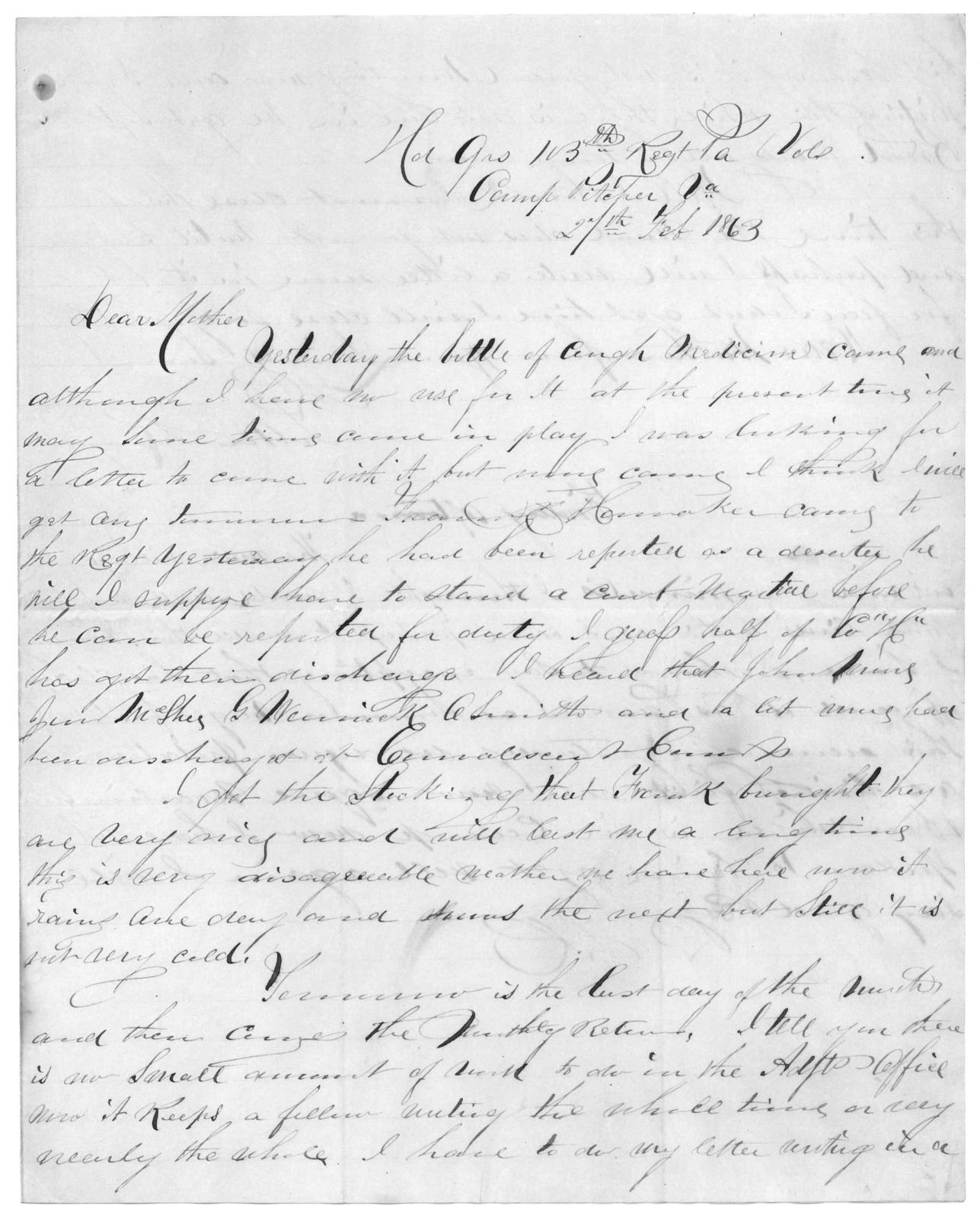 Letter from Tilton C. Reynolds to Juliana Smith Reynolds, February 27, 1863