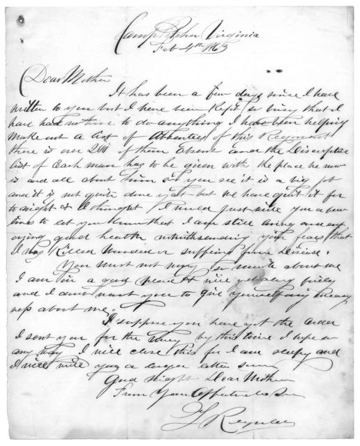 Letter from Tilton C. Reynolds to Juliana Smith Reynolds, February 4, 1863