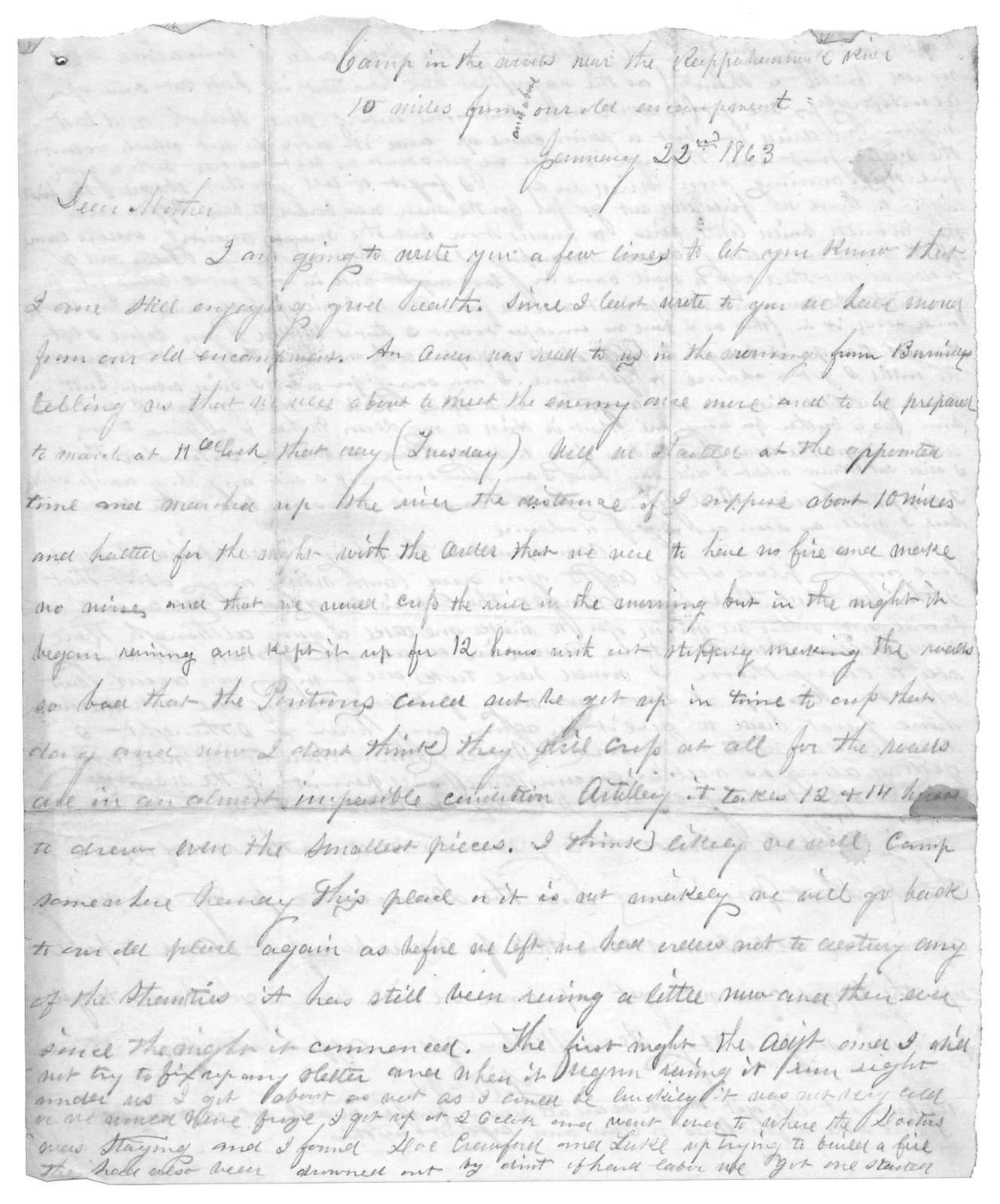 Letter from Tilton C. Reynolds to Juliana Smith Reynolds, January 22, 1863