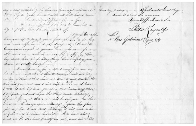 Letter from Tilton C. Reynolds to Juliana Smith Reynolds, January 27, 1863