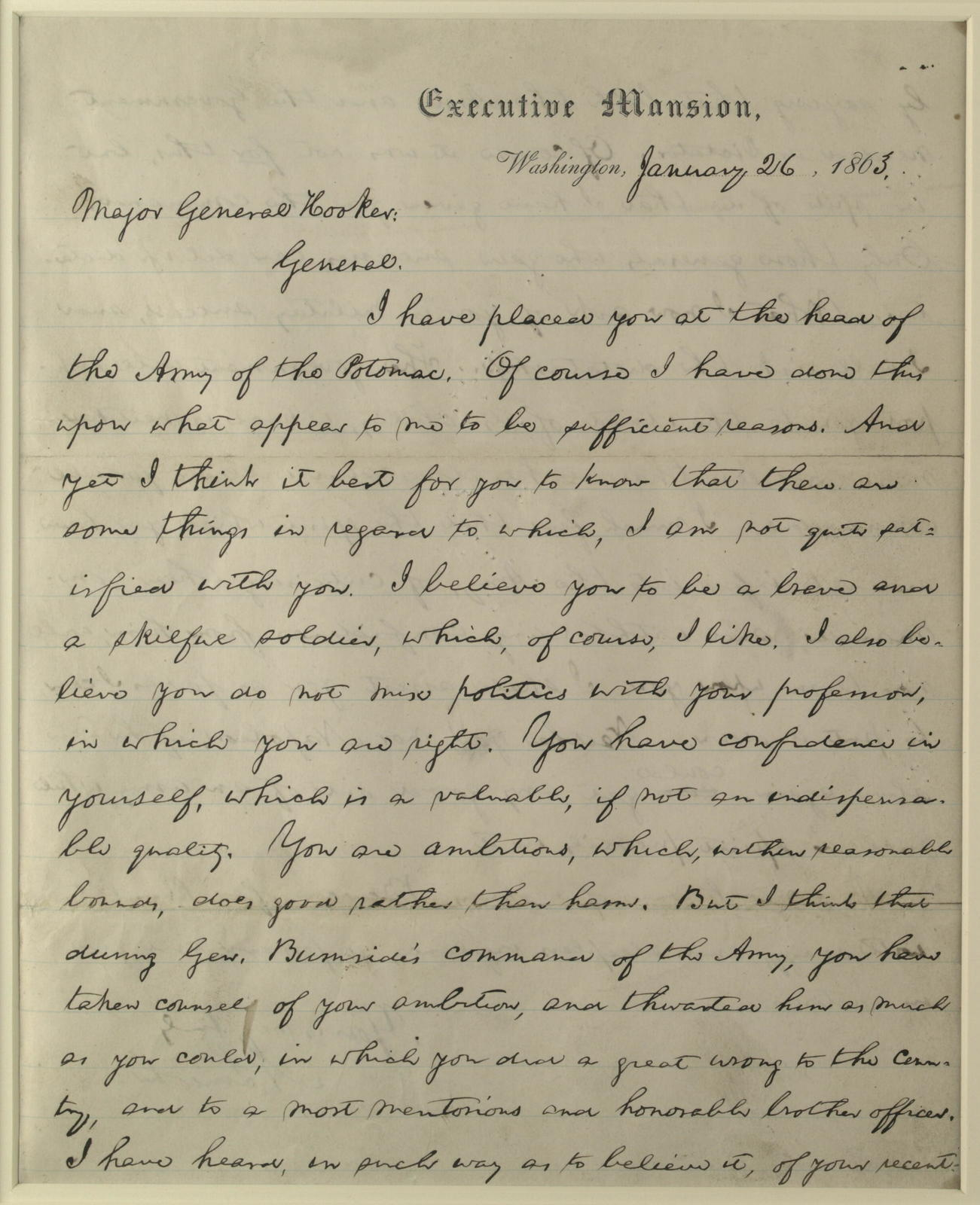 [Letter to Joseph Hooker from Lincoln, January 26, 1863.]