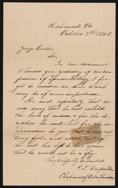 Letter to Judge Ould from J. T. Carpenter. October 7, 1863.