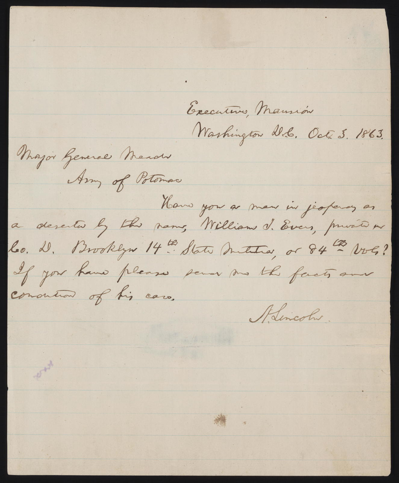 Letter to Major General Meade from Abraham Lincoln, October 5, 1863.