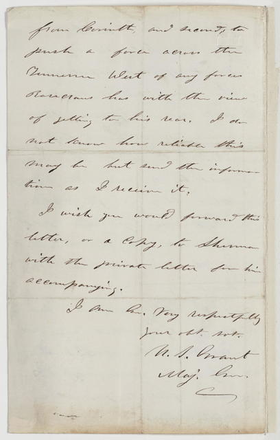 Letter to S. A. Hurlburt from U. S. Grant, October 8, 1863.