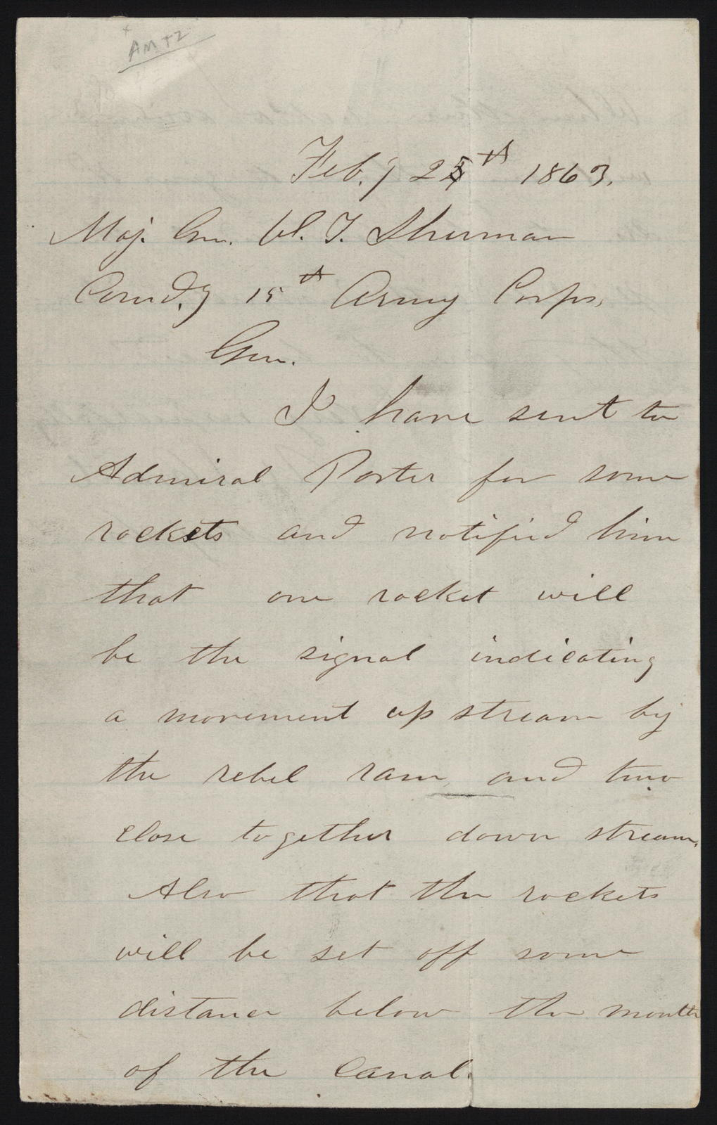 Letter to William Tecumseh Sherman from Ulysses Simpson Grant, February 25, 1863.