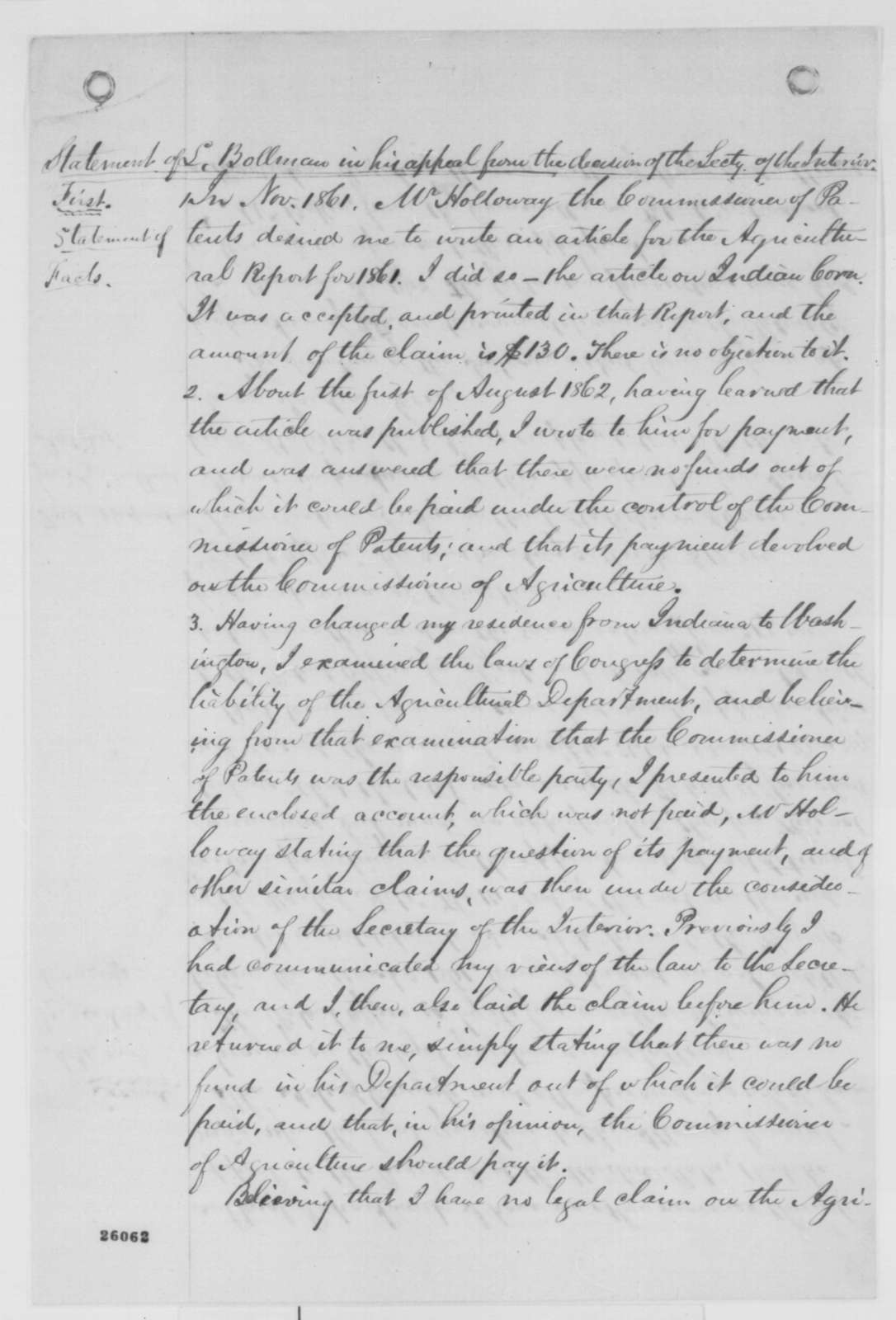 Lewis Bollman to Abraham Lincoln, Saturday, September 05, 1863  (Payment of claim; with statement appealing decision of the Secretary of the Interior)