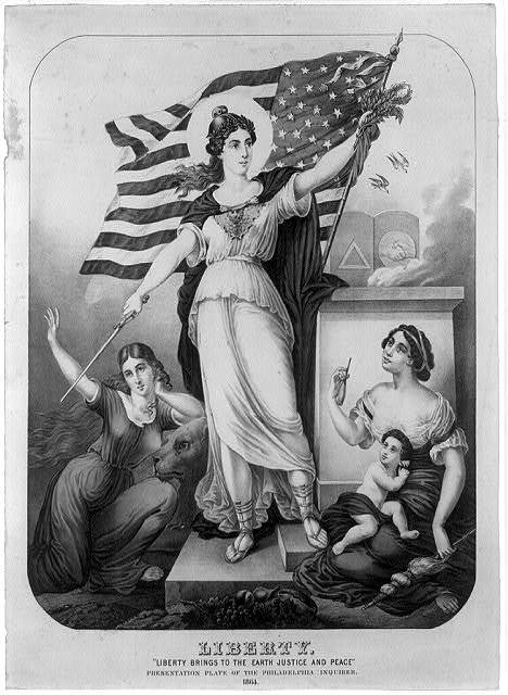 """Liberty. """"Liberty brings to the earth justice and peace"""" / C. Inger."""
