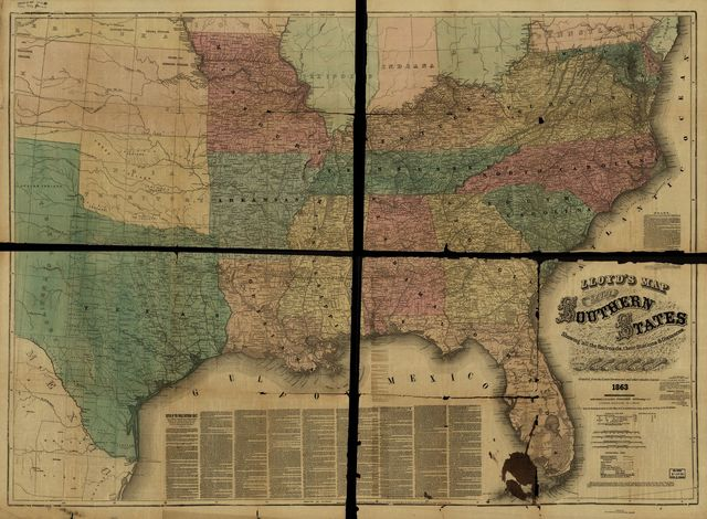 Lloyd's map of the southern states showing all the railroads, their stations & distances, also the counties, towns, villages, harbors, rivers, and forts