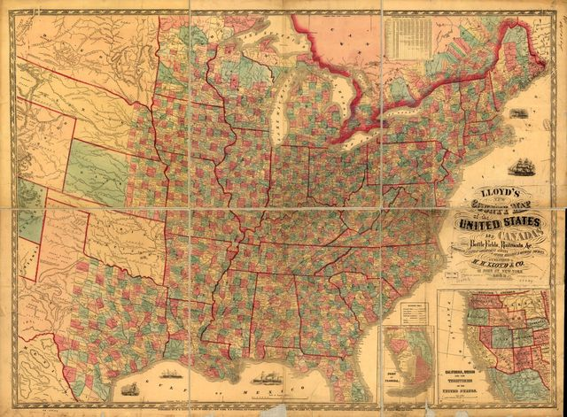 Lloyd's new county map of the United States and Canadas showing battle fields, railroads, &c., compiled from the latest government surveys & other reliable & official sources, drawn and engraved by Schơnberg & Co., New York.