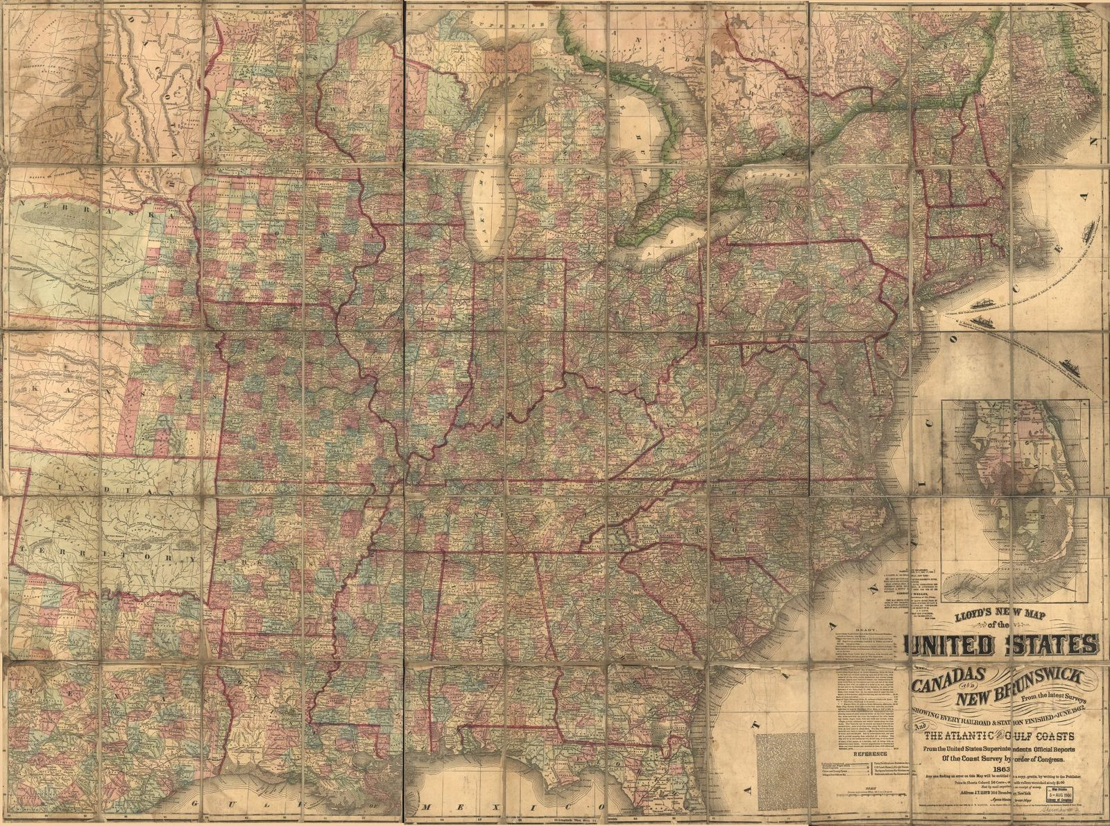 Lloyd's new map of the United States, the Canadas and New Brunswick, and the Atlantic and Gulf coasts : from the latest surveys showing every railroad & station finished to June 1862 /