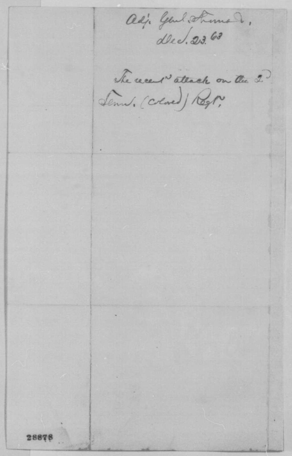 Lorenzo Thomas to Abraham Lincoln, Wednesday, December 23, 1863  (Military affairs in Tennessee)