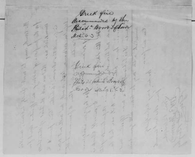"""Lorin Blodget, et al. to Abraham Lincoln, Monday, March 23, 1863  (Testing of """"solidified Greek fire""""; with memorandum by Lincoln)"""