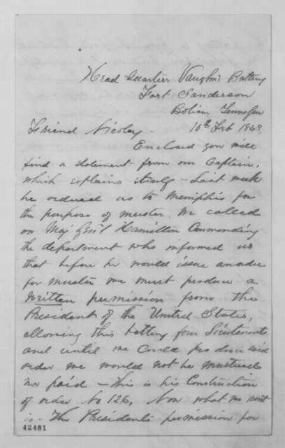 Louis Rosette to John G. Nicolay, Tuesday, February 10, 1863  (Military affairs)