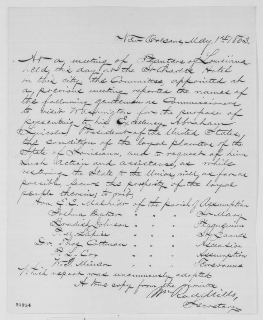 Louisiana Planters to Abraham Lincoln, Friday, May 01, 1863  (Commission to meet with Lincoln)