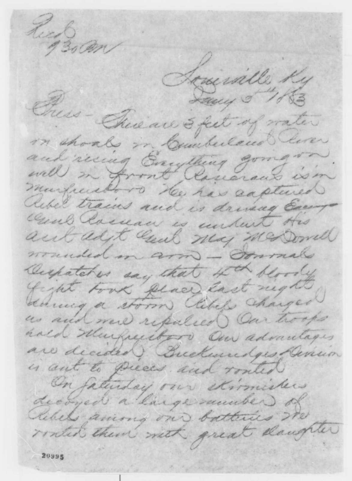 Louisville Kentucky Telegraph, Monday, January 05, 1863  (Telegram reporting military developments in Tennessee)
