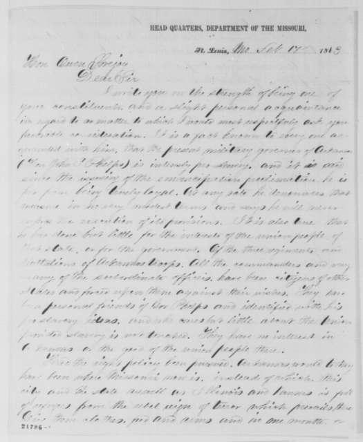 Lyman G. Bennett to Owen Lovejoy, Tuesday, February 17, 1863  (Pro-slavery policies of John S. Phelps, the military governor of Arkansas)