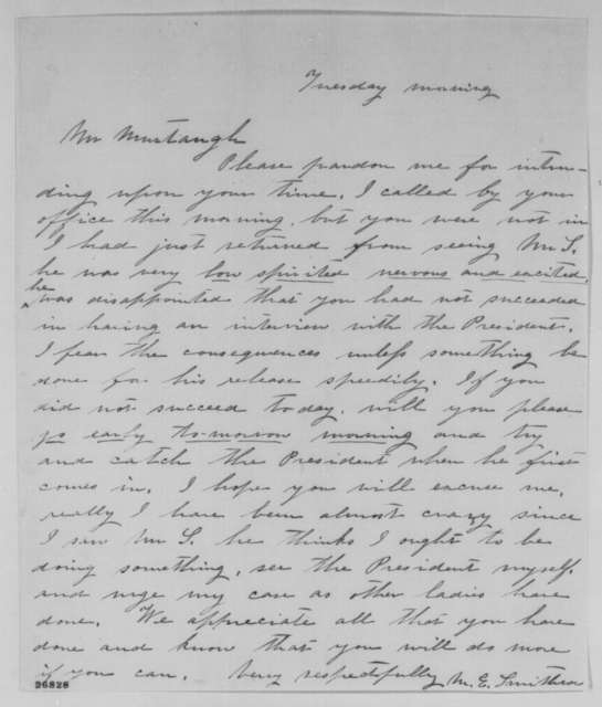 M. E. Smithson to Murtaugh, September 1863  (Seeks release of her husband)